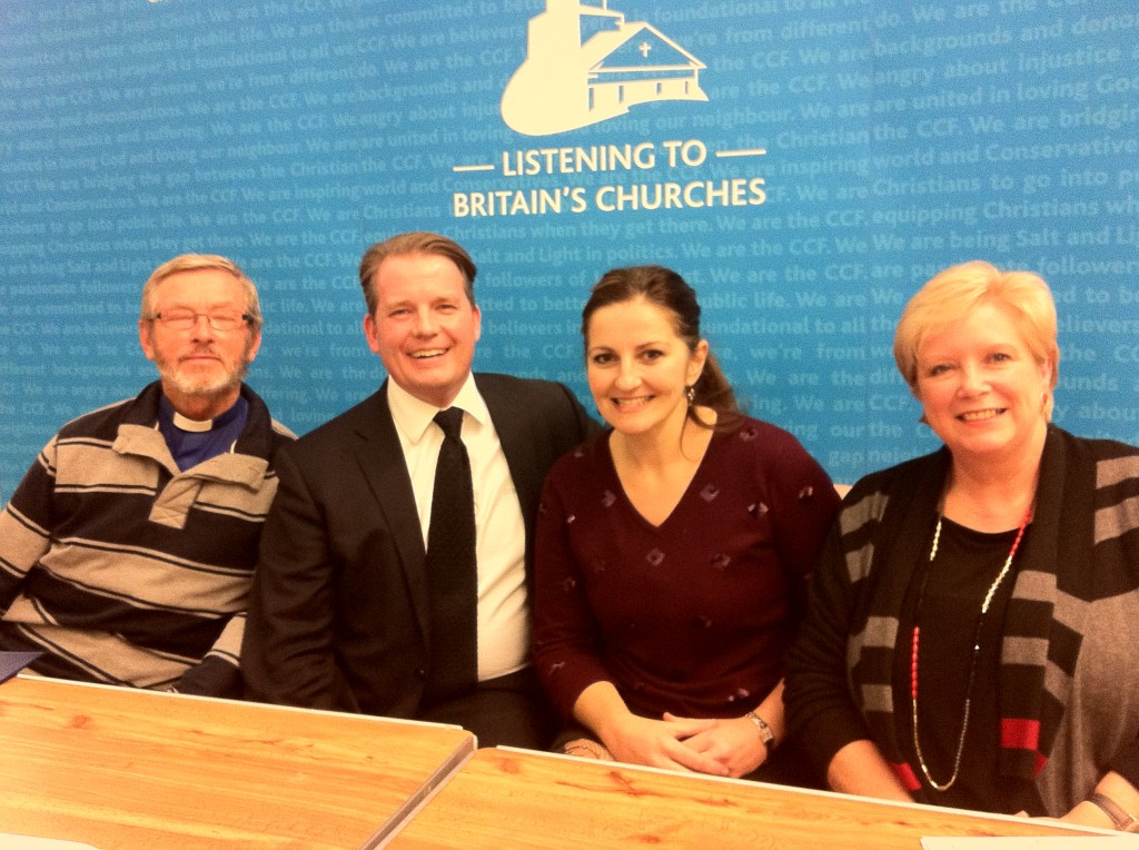 """We're listening!"" Rev Vic Lawrence (St John's Church ministry team), Colin Bloom, director of the Conservative Christian Fellowship, prospective MP Caroline Ansell and local community advisor Sandy Medway"