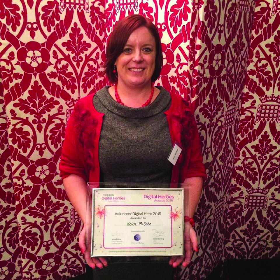 Helen McCabe with her Digital Heroes award