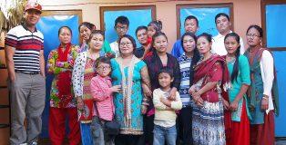 Members of Mahima Baptist Church. Sarju Rijal is the tall man on the far left  (Credit: Sarju Rijal)
