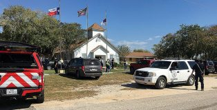 The church where the mass shooting took place is taped off in Sutherland Springs