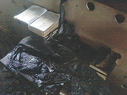 The open Bible as it was found among the wreckage