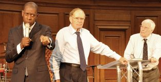 Prayer sessions were led by Pastor Dennis Greenidge (left), David Hathaway and Clifford Hill (right)