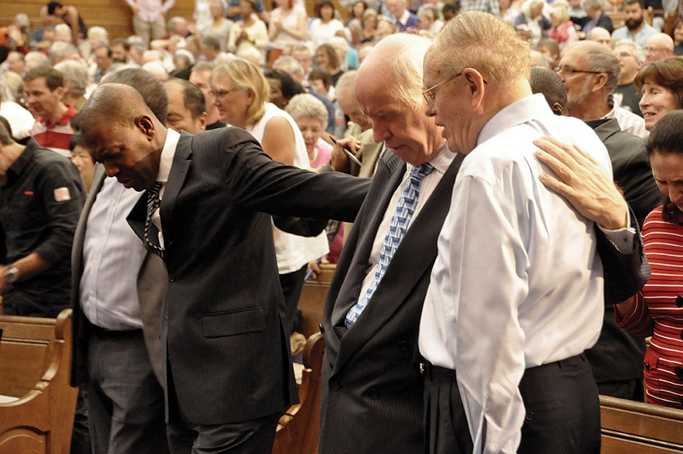 Joined in prayer: the leaders at last year's event