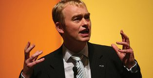 Tim Farron MP, with fish badge on his lapel, has opened up about his failure under fire during the general election