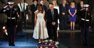 President Donald Trump and First Lady Melania laid a wreath on 27 January, Holocaust Memorial Day, at the World Economic Forum, watched by Israeli Prime Minister Netanyahu and his wife Sarah. Immediately behind the President are his daughter Ivanka and her husband, Jared Kushner