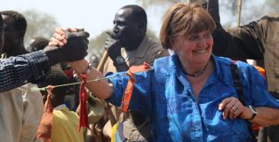 Handshake of hope: Baroness Cox is raising urgently needed funds for displaced Sudanese civilians