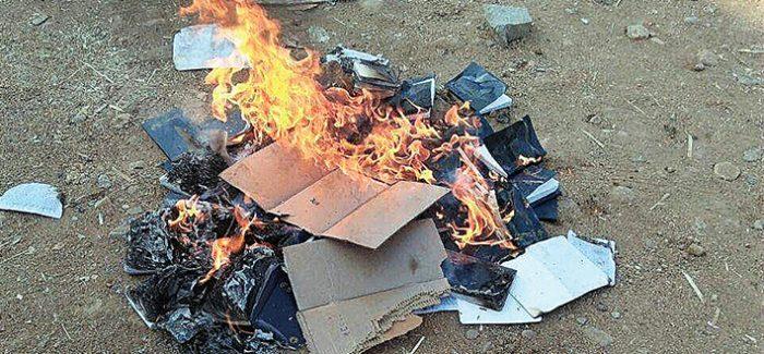 Elderly Gideons' Bibles burnt