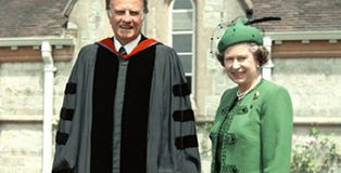Rev Graham on a visit to Queen Elizabeth in 1989