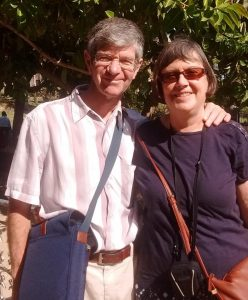 The author pictured with Linda last autumn in Galilee, not far from Cana, where she had a vision of her wedding.