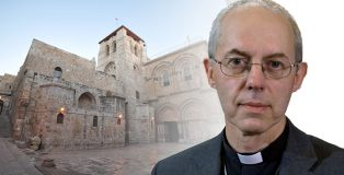 Archbishop Justin Welby with the Church of the Holy Sepulchre behind
