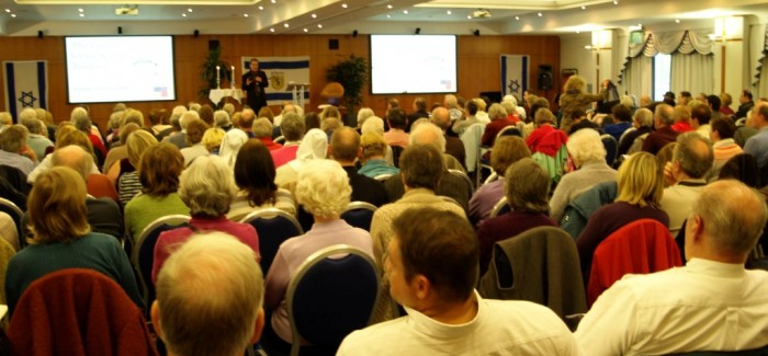 Nearly 300 people packed the venue to hear David Pawson and fellow speakers