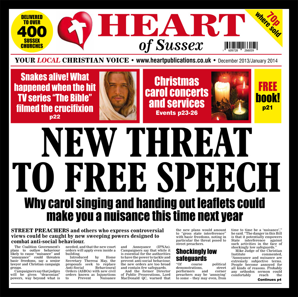 The threat to free speech was the front cover story on the previous HEART OF SUSSEX