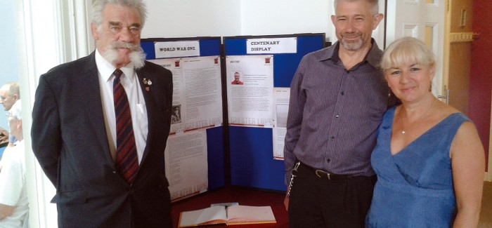 Greater Love exhibition - Major Tom Wye with event organisers Chris and Linda McCanna