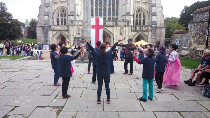 The Korean missionaries did a drama presentation and preached the good news outside Winchester Cathedral. Tracts were also given out