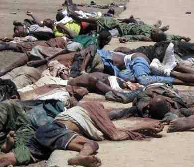 Baga dead: The murders of Baga residents by Islamists were largely ignored by the worldwide media which prioritised the Paris terrorist attack. Photo: Breaking Christian News