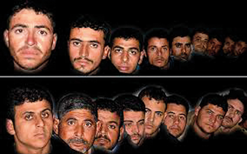 The faces of the 20 men shown in this online image by the Islamic State means they could face execution soon