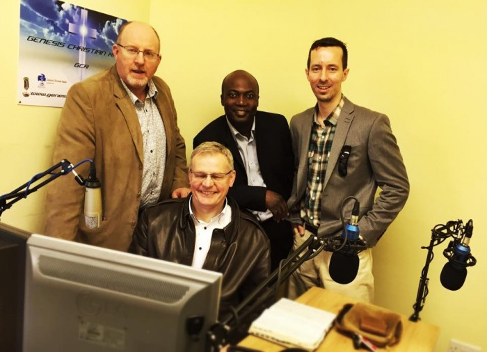 Amos Farrell (left) who founded Genesis Christian Radio with members of the radio ministry team
