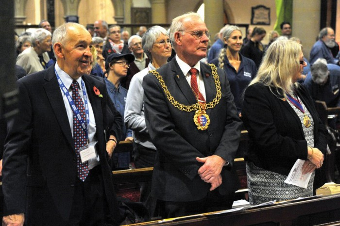 MAYOR'S APPROVAL: The induction service was honoured by the presence of Mayor Bruce Dowling (right), who also spoke at the event. He is accompanied here by Ascension Trust representative Michael Pargeter (left)