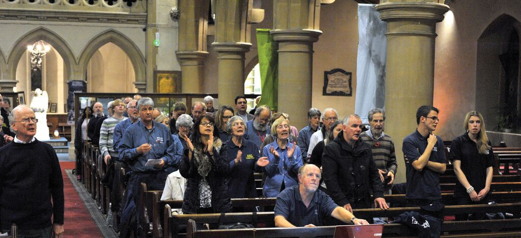 Martin West, author and co-ordinator of Bexhill and Hastings Street Pastors, is left of centre in the blue shirt