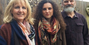 Standing together: Aisling with parents Caroline and Jeremy Hubert