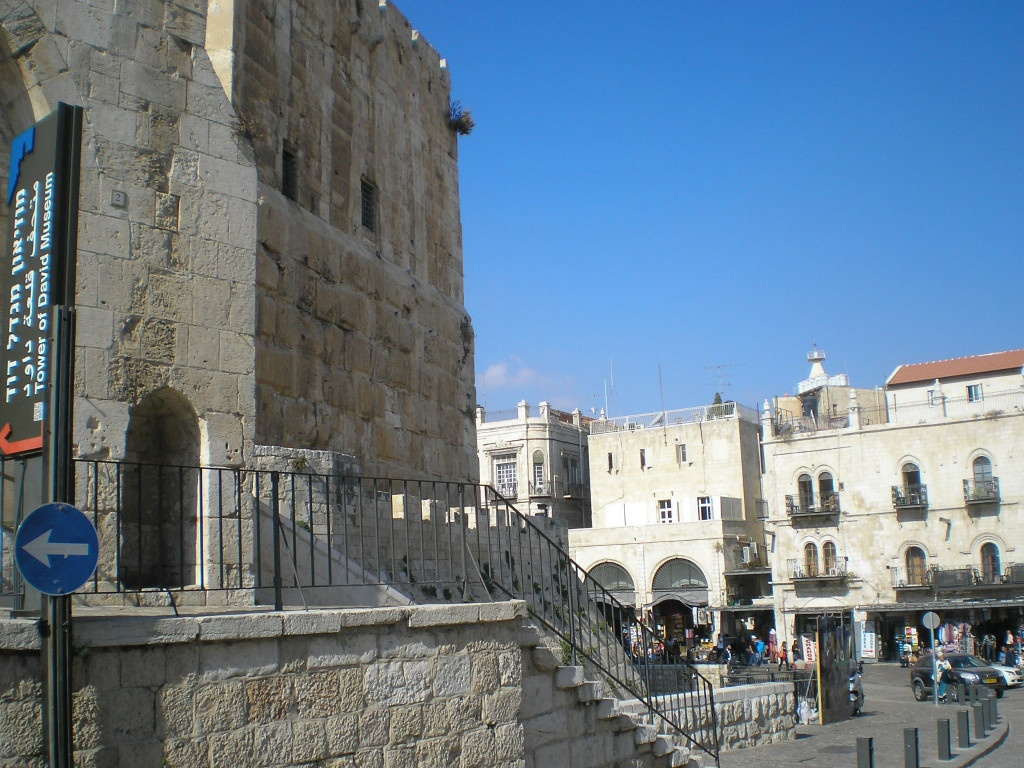 Jerusalem's Old City showing David's Tower on the left, looking towards Jaffa Gate (just out of sight). The photo was taken from the direction of Christ Church, the Anglican Church which works towards Jewish and Arab reconciliation through Jesus