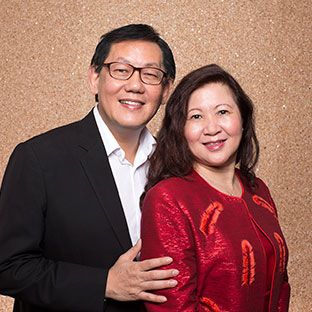 Rev Tuck Yoong and his wife Daphne Yang, whose Singapore church financed the restoration of the Bible College of Wales