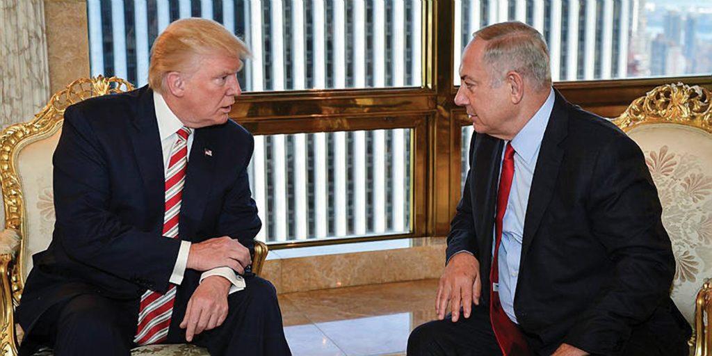 Then presidential candidate Donald Trump with Israeli PM Binyamin Netanyahu in New York last September © Kobi Gideon via United for Israel