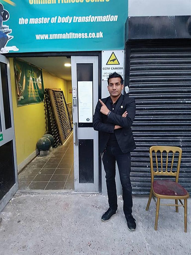 Wilson Chowdry outside the former Ummah Fitness Centre, which had images of ISIS on its Facebook page and was visited by three terrorists who only five days later carried out the London Bridge attack