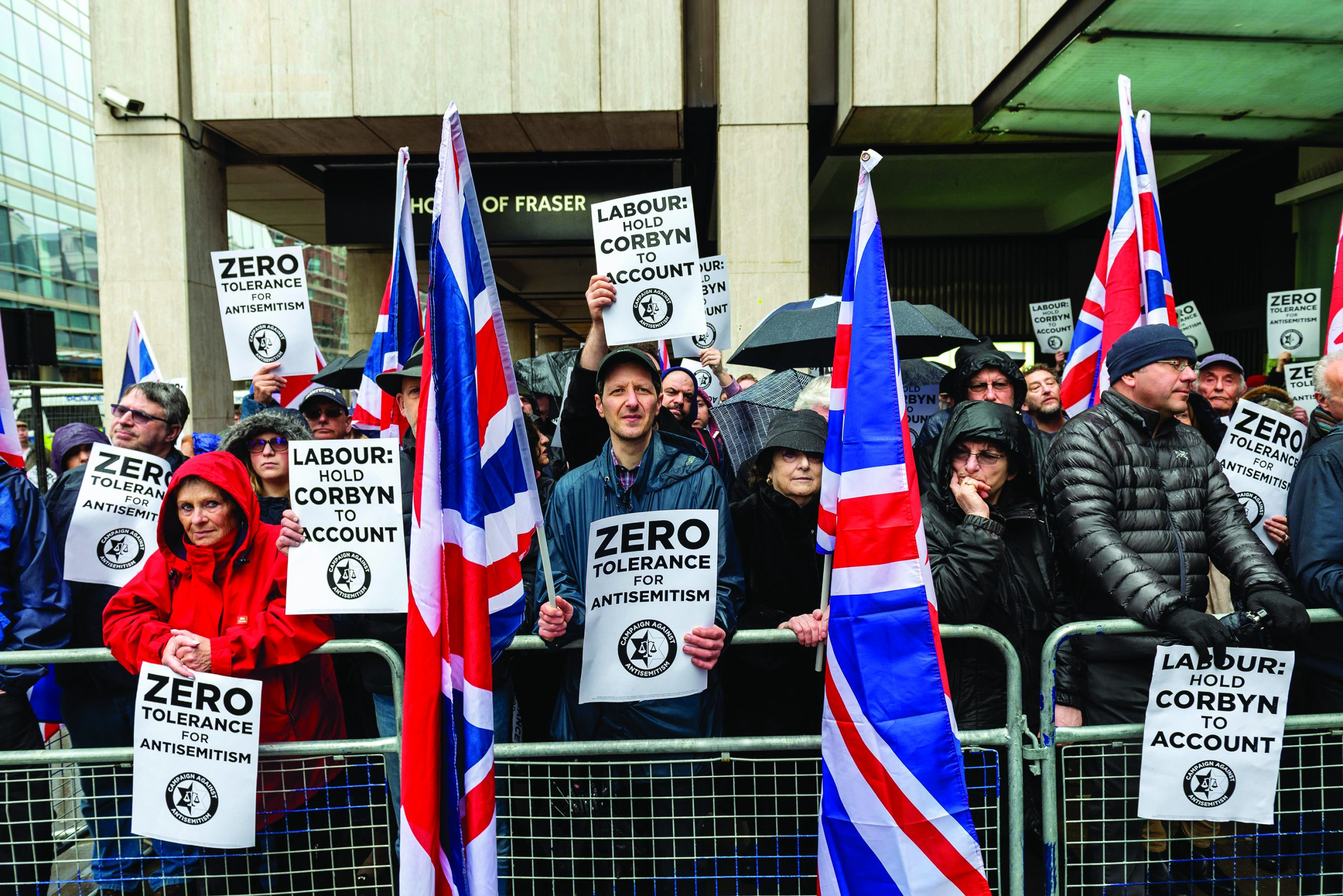 Hundreds of the UK's Jewish community and allies protested outside the Labour Party offices