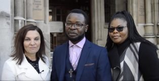 Felix and Pepsy Ngole with Andrea Williams at a 2017 court appearance