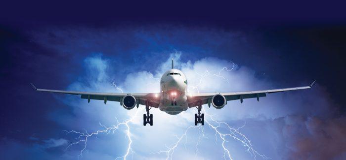Aeroplane flying through a storm