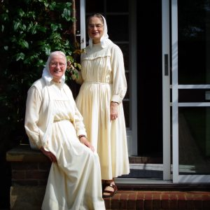 Sister Thekla (seated) and Sister Glory at Jesus' Return, their home near London.