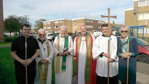 Daniel Booth, Fr Gerald Kirsch, Fr Michael Blades, Bishop Ashenden, Alex King and Rosemary Kirsch