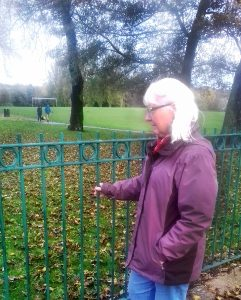 The railings where Alan was killed have become Maureen's prayer station