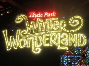 The large sign on display at Hyde Park