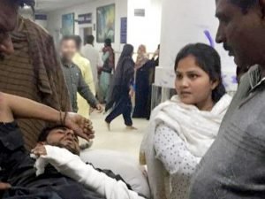 Martyred Saleem Masih lies in agony on his arrival in hospital, where he succumbed to his torture injuries