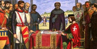 King John signs Magna Carta 1215