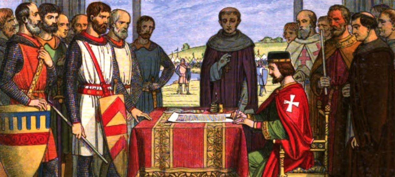 King John signs Magna Carta 1215