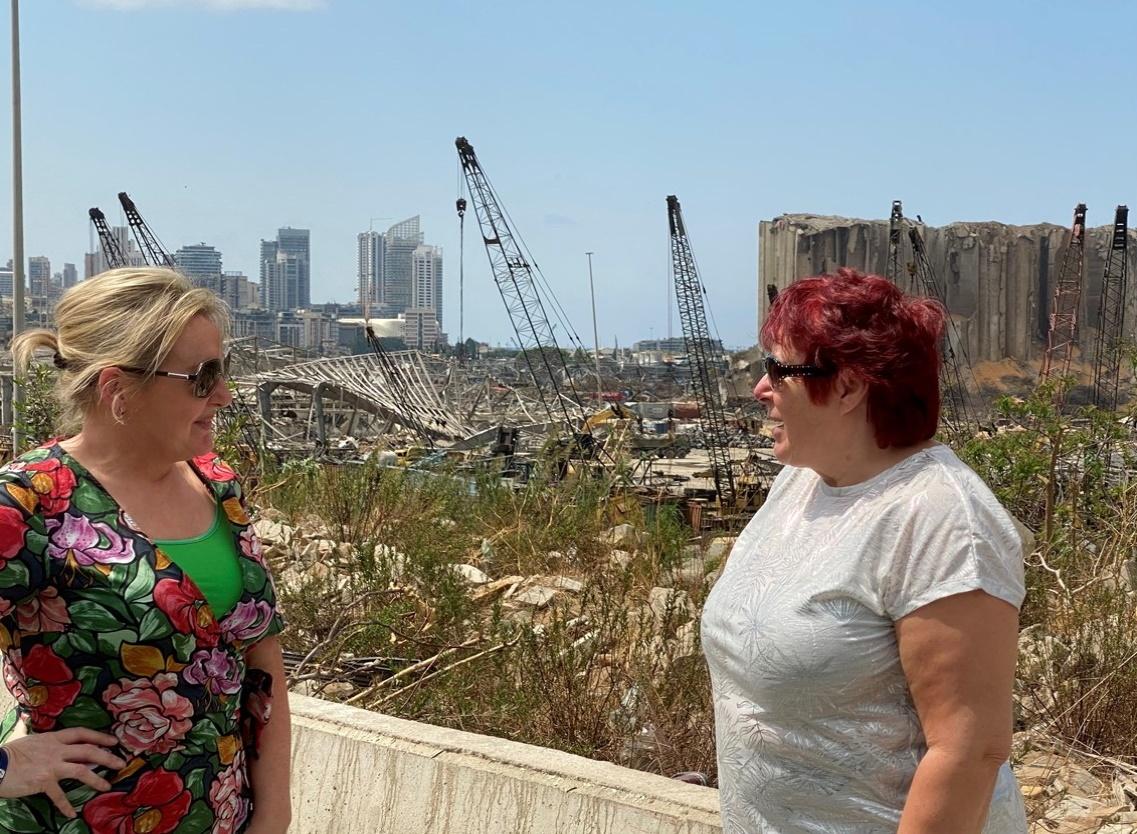 Linda (left) and Julia at ground zero