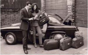 A luggage photo shoot in the 1960s