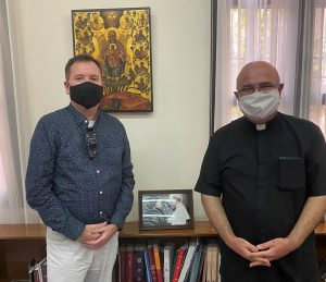 The Monsignor of Beirut (head of Beirut's Catholic Church) with Chaplain Christy