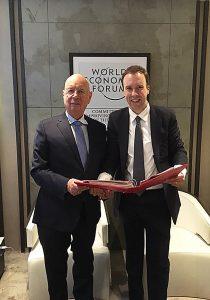 Matt Hancock with Professor Klaus Schwarb, the World Economic Forum's German founder