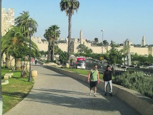 The walls of Jerusalem, leading to the Old City landmarks of Jaffa Gate and the Tower of David