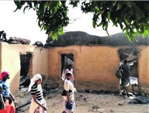 Homes burned by Fulani assailants in Bassa County, Plateau state, Nigeria in February 2021