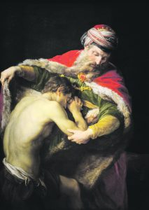 The prodigal son finds mercy and forgiveness from his patient and wise father