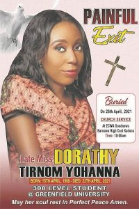 Funeral notice for a Christian student abducted and killed in Chikun County, Kaduna state, Nigeria