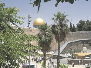 Deceptively peaceful: The golden Dome of the Rock seen from the Israeli side
