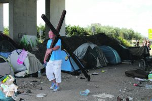 """Richard in """"the Jungle"""" migrant camp, Calais"""