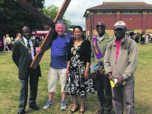 The Mayor of Merton, left, Pastor Richard Doe of Freelance Christian Ministries in purple sash and church members, Mitcham, 2016