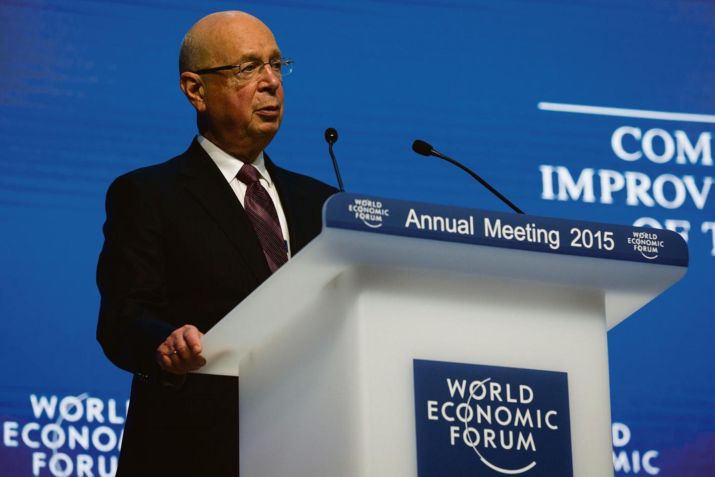 Klaus Schwab speaking at the World Economic Forum